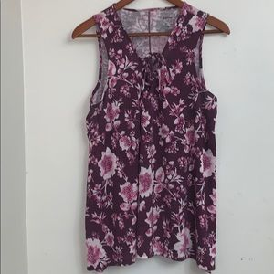 Sonoma sleeveless floral top- 1X